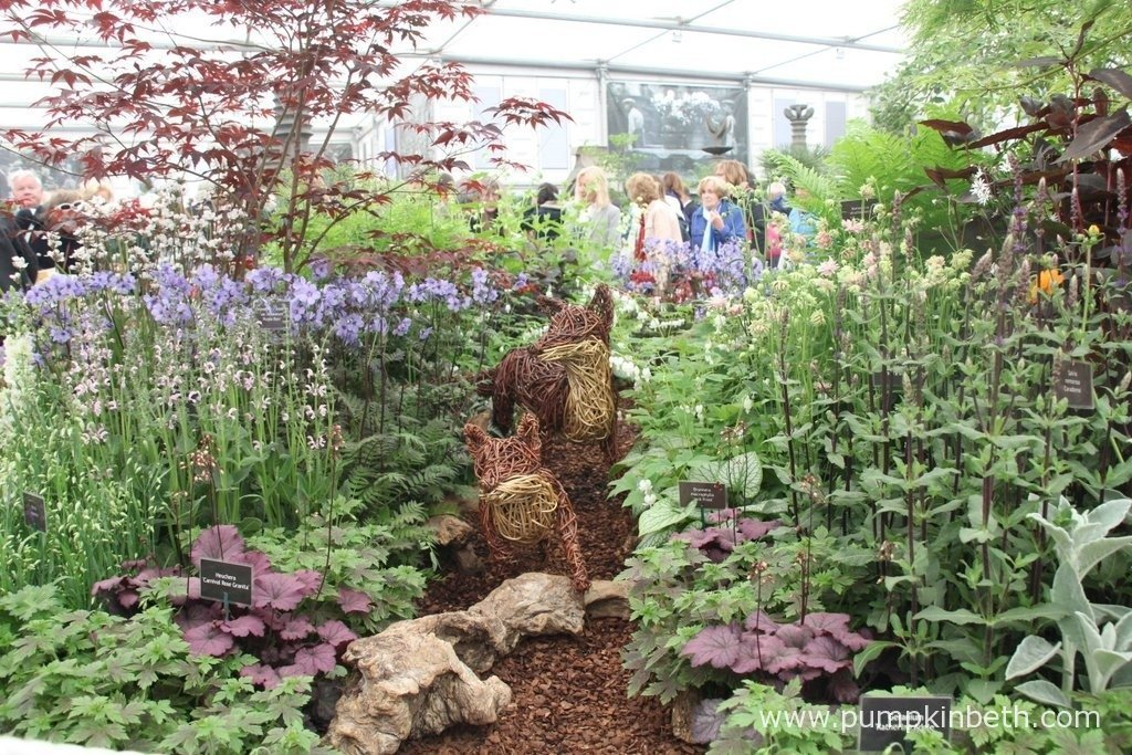 This attractive exhibit from Culm View Nursery features cottage garden plants and native plants designed to attract wildlife and support biodiversity. The pretty fox sculptures are created by Woody Fox Willow.
