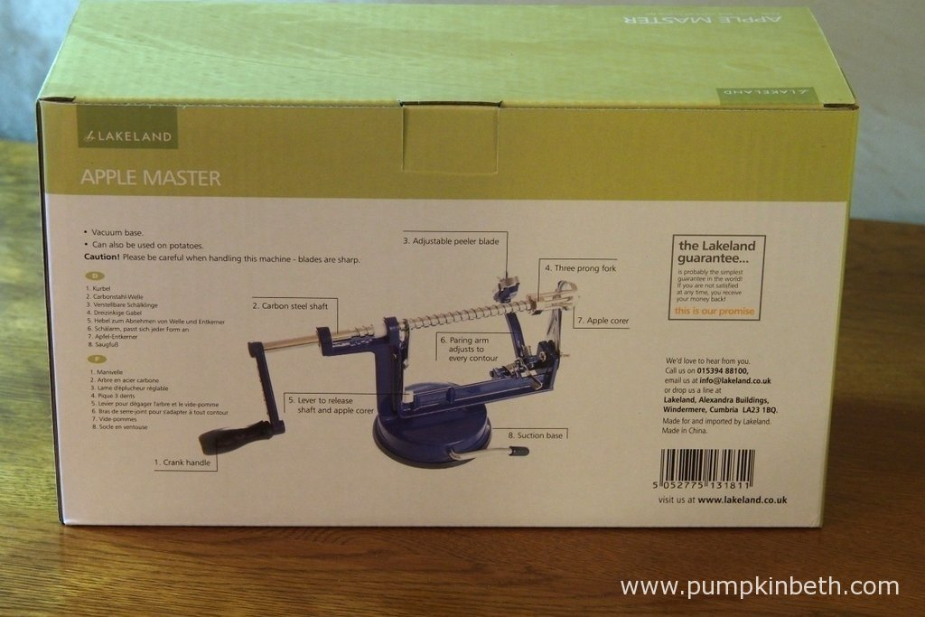 Lakeland's Apple Master's box, with instructions for use. This is a very simple and straightforward product to use.