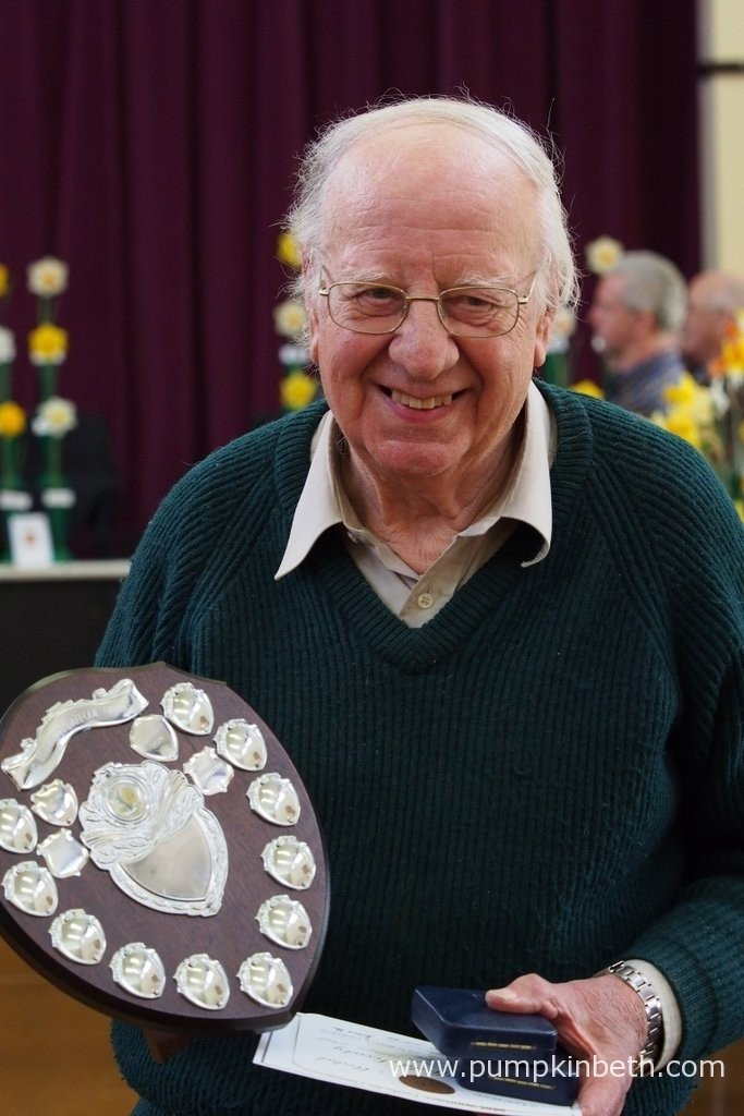 John Goddard is pictured with the daffodil shield, he was awarded at the Daffodil Society Mid Southern Group Spring Show 2016.