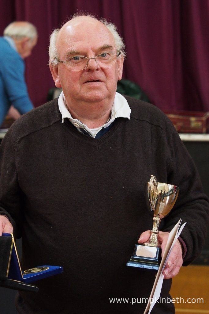 George Oakley is pictured with the trophies he was awarded at the Daffodil Society Mid Southern Group Spring Show 2016.