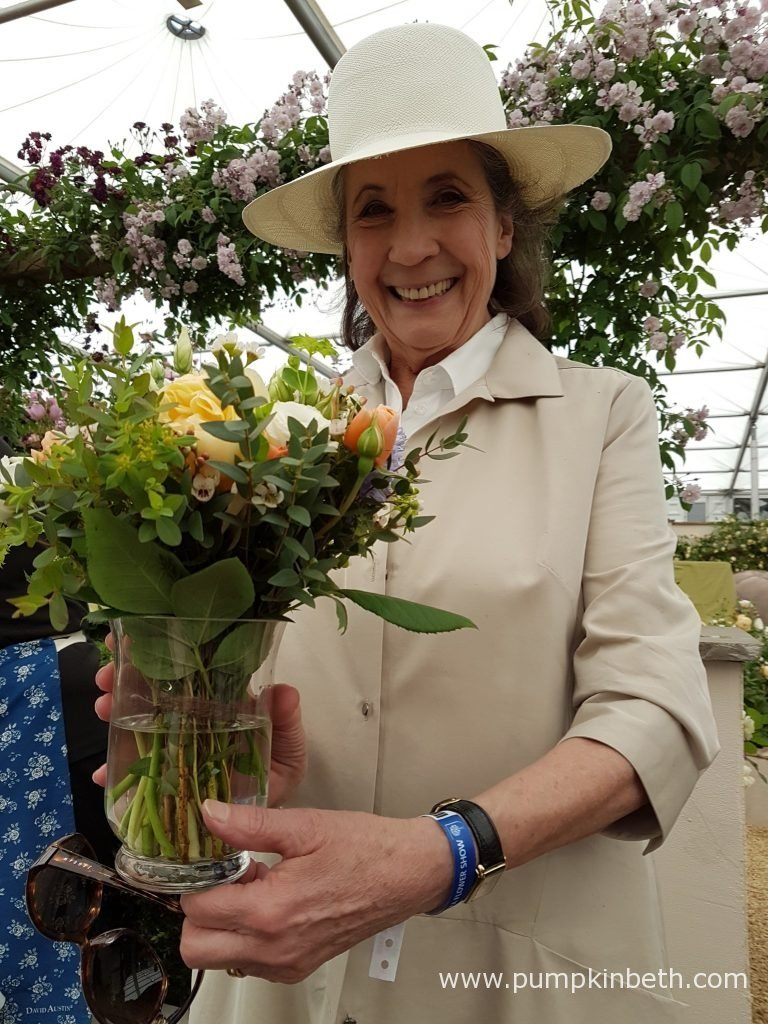 Liccy Dahl unveiling the new David Austin English rose which has been named in honour of her late husband, Roald Dahl, at the RHS Chelsea Flower Show 2016.