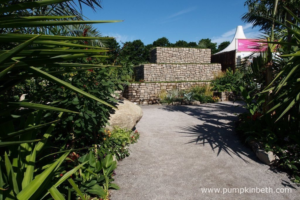 The Journey Latin America's Inca Garden at the RHS Hampton Court Palace Flower Show 2016, featured a three-tiered terrace, designed to represent the famous terraces of Machu Picchu.