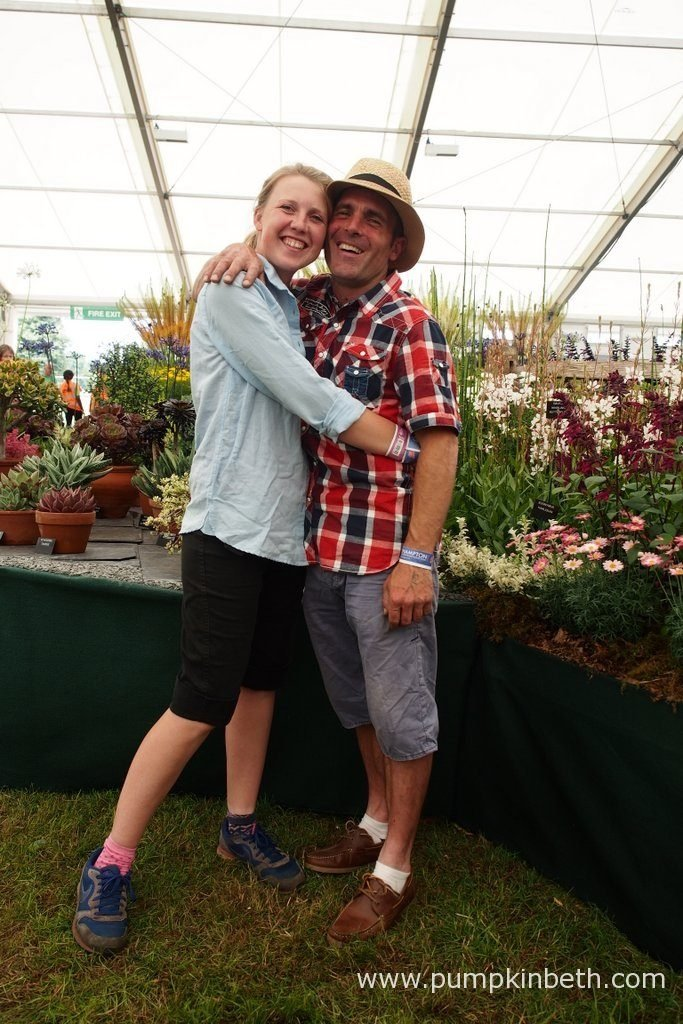 Louise Batchelor and Simon Lockyer are pictured with W & S Lockyer's fantastic display of perennials and succulents, at the RHS Hampton Court Palace Flower Show 2016.