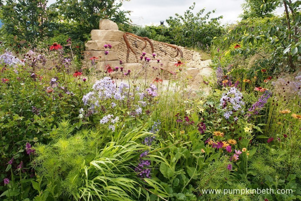 Zoflora: Outstanding Natural Beauty was designed by Helen Elks-Smith, and built by Wycliffe Landscapes Ltd. This Show Garden was sponsored by Zoflora. The RHS judges awarded the garden a Gold Medal and the prestigious title of Best Construction Award, at the RHS Hampton Court Palace Flower Show 2016. Dry stone walls define a linear landscape in this colourfully planted Show Garden.