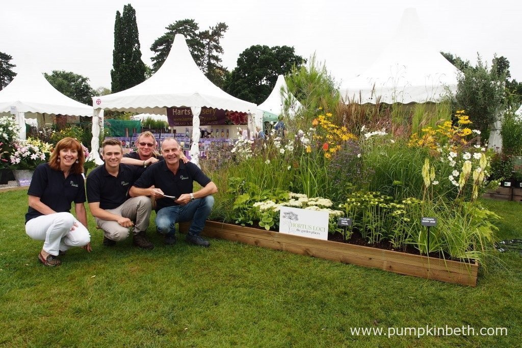 The lovely team from Hortus Loci with their stand at the RHS Wisley Flower Show 2016.