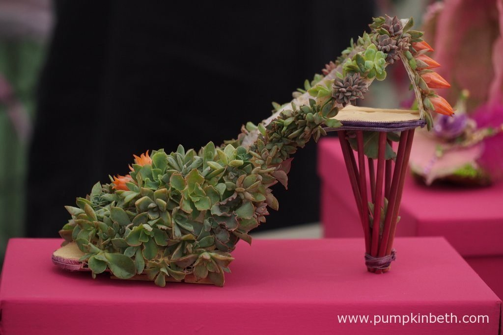 This beautiful green shoe has been specially made from natural materials, for the Surrey NAFAS Floral Display at the RHS Wisley Flower Show 2016. I love this shoe, it looks as if it was designed for a fairy princess.