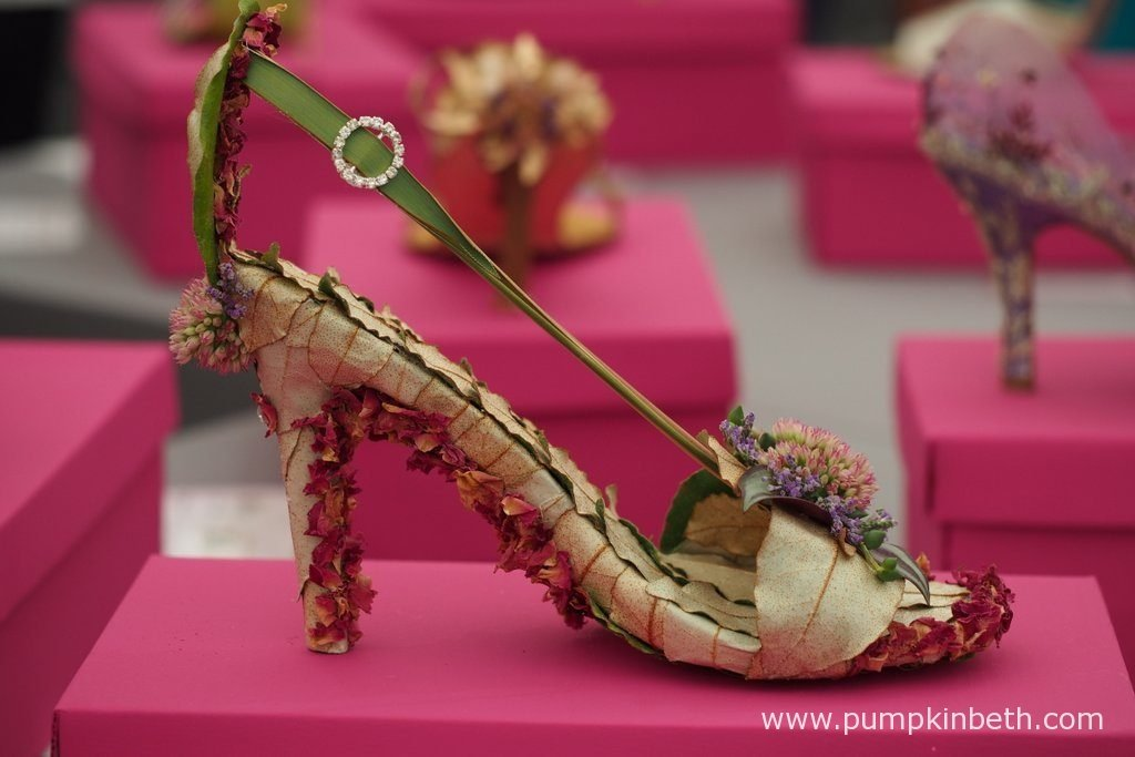These intricately decorated shoes were much admired in the Surrey NAFAS Floral Display Tent, at the RHS Wisley Flower Show 2016.