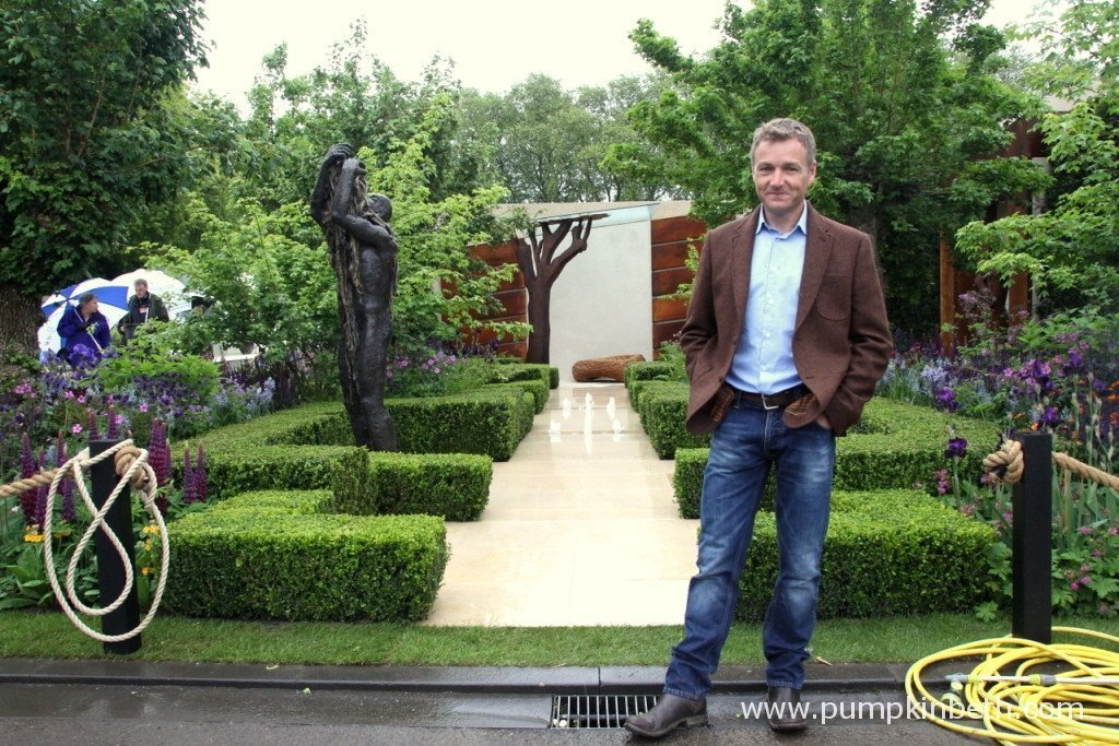 Chris Beardshaw and his RHS Chelsea Flower Show Gold Medal winning garden, designed for The Morgan Stanley Healthy Cities Initiative.