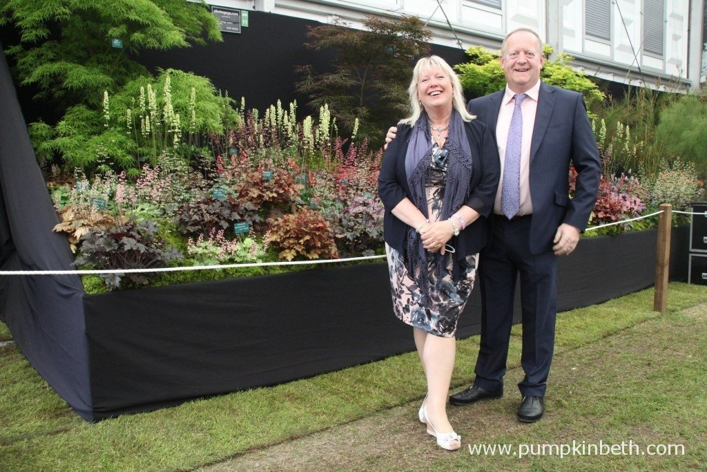 Vicky and Richard Fox of Plantagogo, with their Gold Medal winning exhibit at the RHS Chelsea Flower Show 2015
