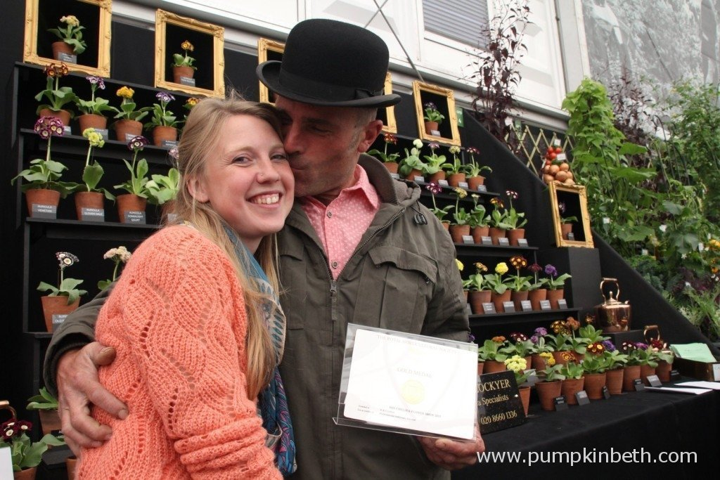 Louise Batchelor and Simon Lockyer from W & S Lockyer Auricula Specialists with their Gold Medal exhibit at the 2015 RHS Chelsea Flower Show.