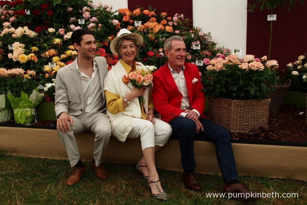Lynda Bellingham's son Robert together with Maureen Lipman, a close friend of Lynda Bellingham, and her widower, Michael Pattemore, launch Rosa 'Lynda Bellingham' at The Festival Of Roses, at the RHS Hampton Court Palace Flower Show.