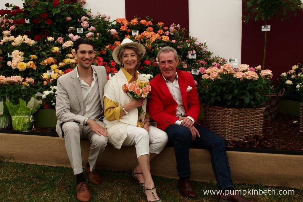 Lynda Bellingham's son Robert, Lynda's close friend, Maureen Lipman and Lynda's husband,Michael Pattemore, launch Rosa 'Lynda Bellingham' at the Festival Of Roses, at the RHS Hampton Court Palace Flower Show.