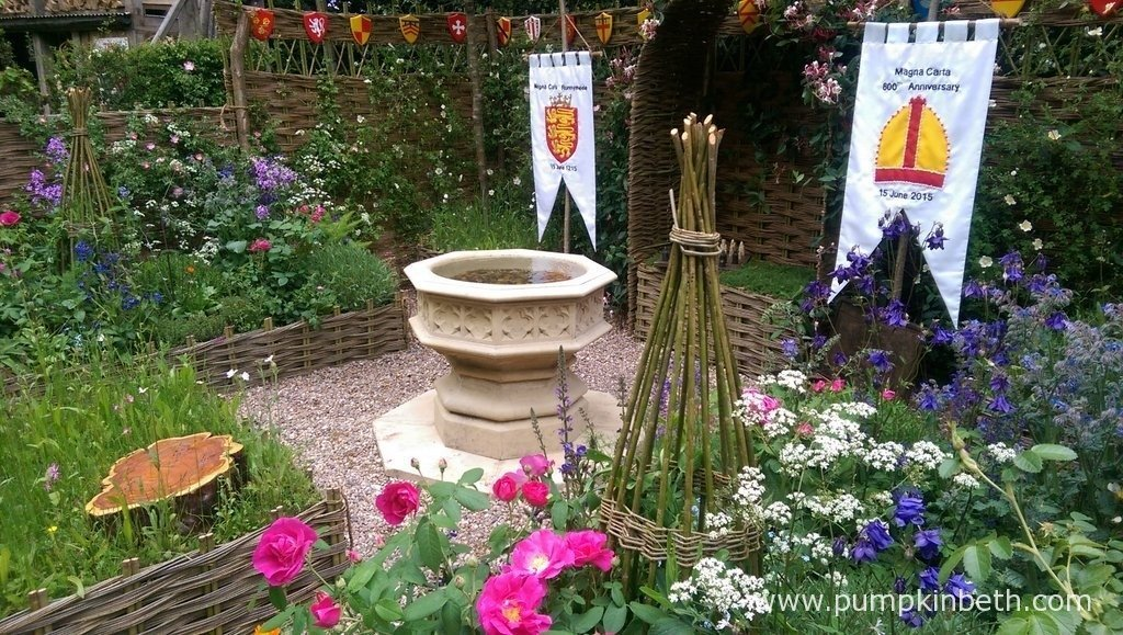 The Runnymede Surrey Magna Carta 800th Anniversary Garden, designed by A Touch of France Garden Design, built by Rupert's Landscapes and sponsored by Surrey County Council, Runnymede Hotel and Kier Group plc.