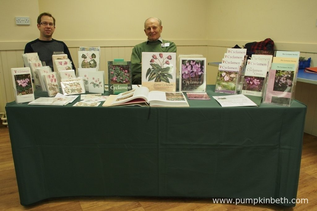 Members from The Cyclamen Society were on hand at RHS Garden Wisley, giving advice to visitors as well as selling books and plants. Plant Society Shows, like this one at Wisley are great places to buy plants and find out more about a genus.