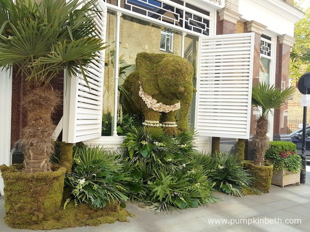 The White Company had an amazing display which featured an elephant made from moss and flowers.