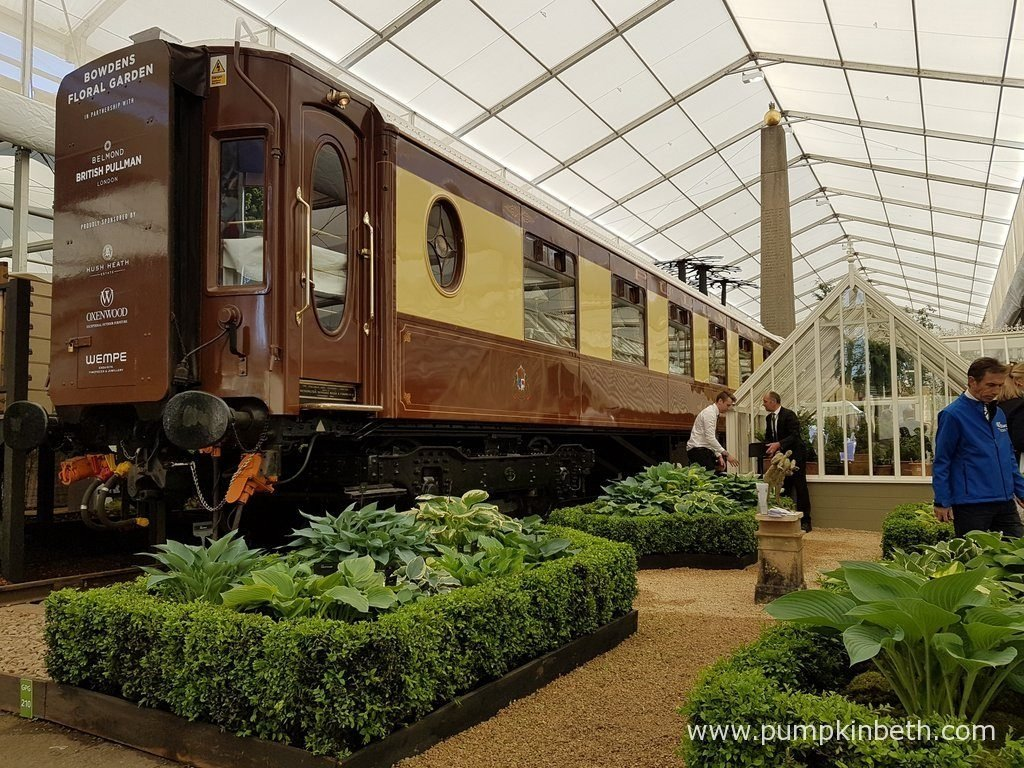 Bowden Hostas exhibit at the RHS Chelsea Flower Show 2016 featured an 80ft Belmond British Pullman carriage.