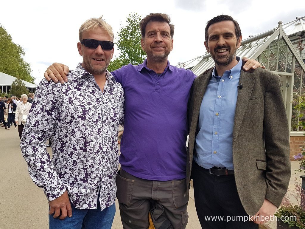 Garden designer and broadcaster Adam Frost, pictured with Nick Knowles and Chris Frediani from DIY SOS, at The RHS Chelsea Flower Show 2016. The team from DIY SOS will help to rebuild The Morgan Stanley Garden for Great Ormond Street Hospital, at Great Ormond Street Hospital, after the Chelsea Flower Show 2016 finishes.