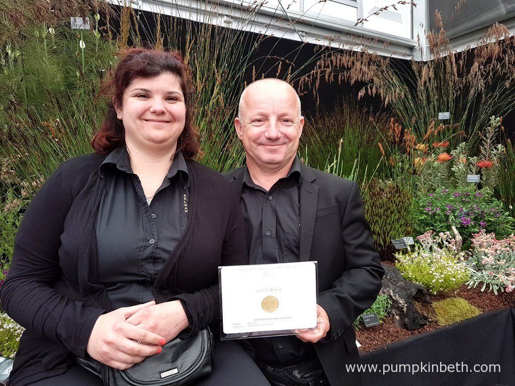 The Osbornes from Kelnan Plants, with their Gold Medal, at The RHS Chelsea Flower Show 2016.