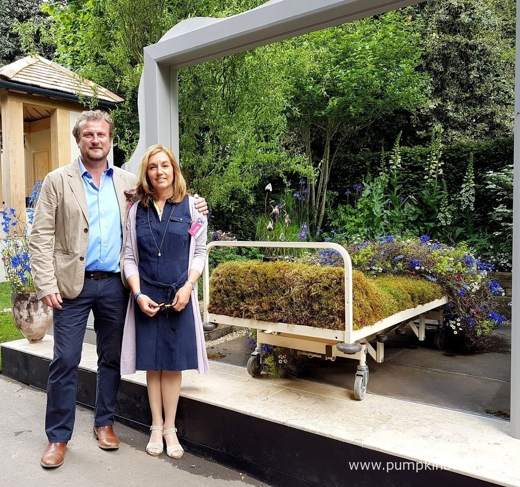 Stephen Welch and Alison Doxey, pictured with their Gold Medal winning Artisan Garden, The Garden Bed - a partnership with Asda, that they designed for The RHS Chelsea Flower Show 2016.