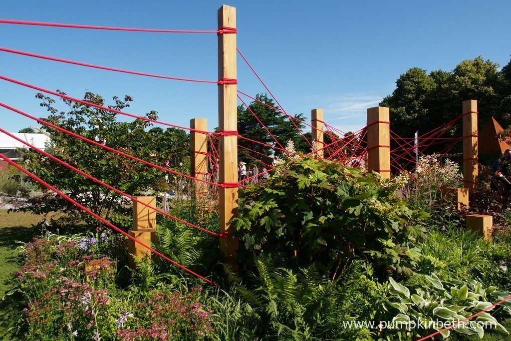 The Red Thread was designed by Robert Barker and built by Terraforma Landscapes, the garden was sponsored by Terraforma Landscapes and Robert Barker Garden and Landscape Design. The RHS judges awarded this Conceptual Garden a Gold Medal, at the RHS Hampton Court Palace Flower Show 2016.