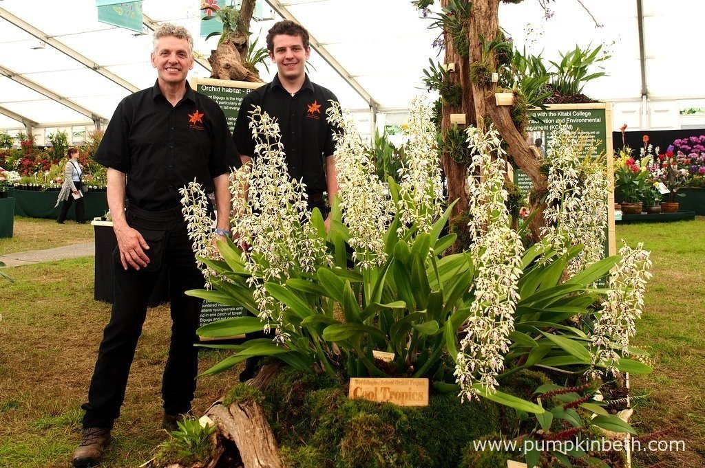 Simon Pugh-Jones and Jacob Coles from the Writhlington Orchid Project, pictured with their Gold Medal winning orchid exhibit, at the RHS Hampton Court Palace Flower Show 2016.
