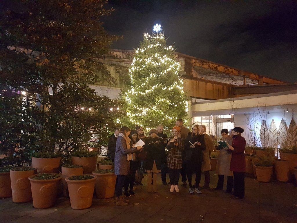 The carol singers at Christmas at Kew 2016, sang beautifully, as the singers welcomed visitors to the Royal Botanic Gardens, Kew.