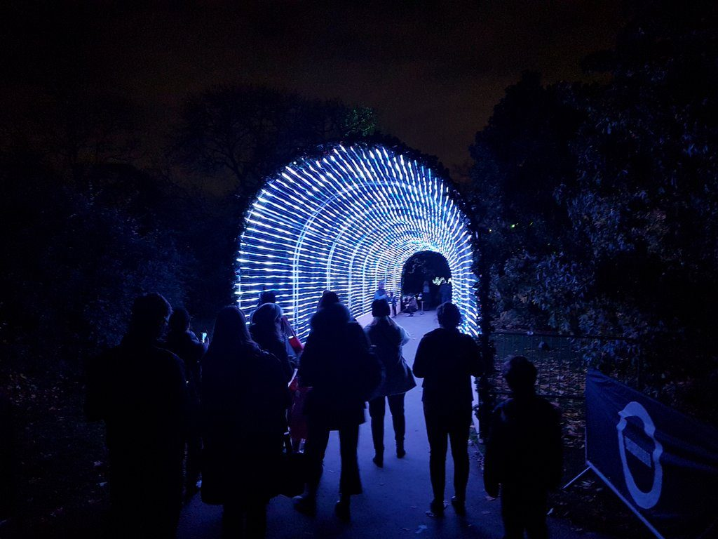 Visitors admiring the light tunnel at Christmas at Kew 2016.
