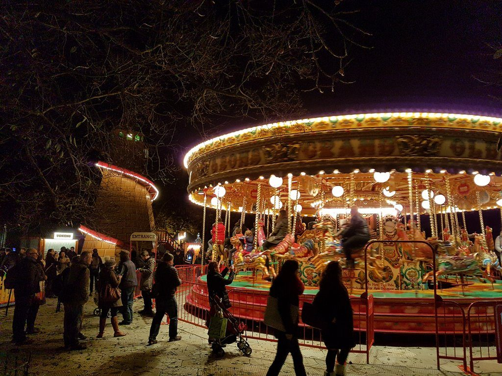 The Helter Skelter and the Victorian Carousel at the special Christmas at Kew 2016 event, held at the Royal Botanic Gardens, Kew.