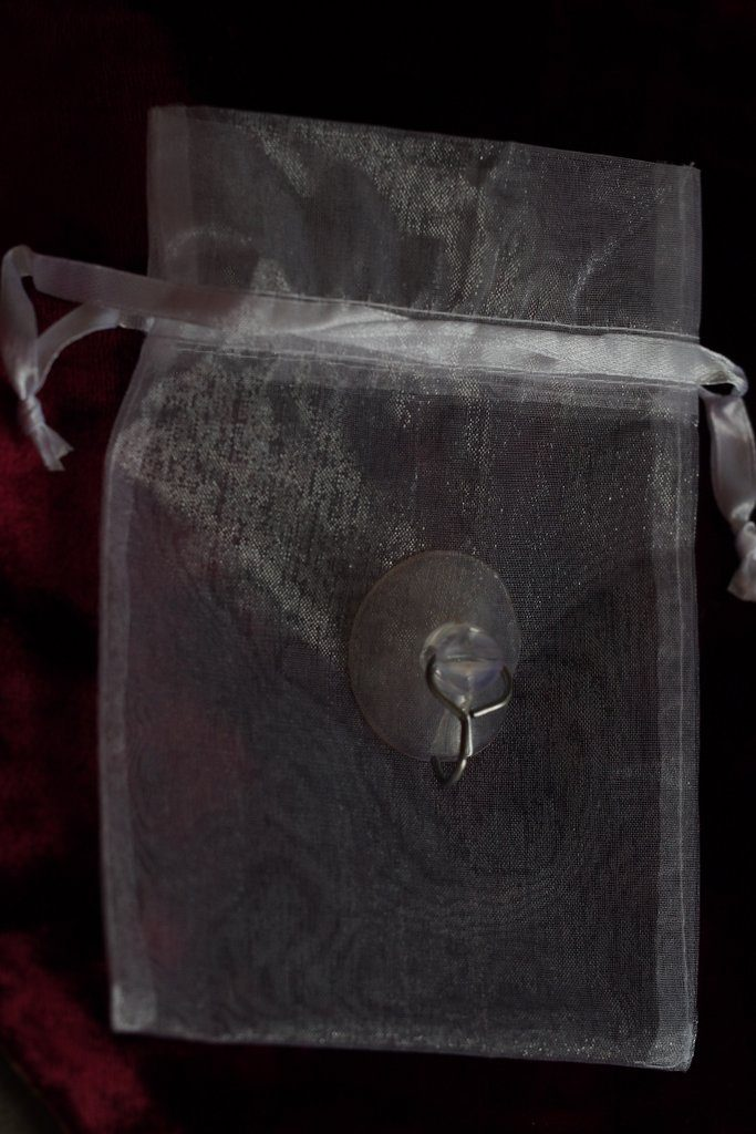 The pretty organza bag and window sticker that came with my Christmas decoration from Sarah Beevers Jewellery Design.